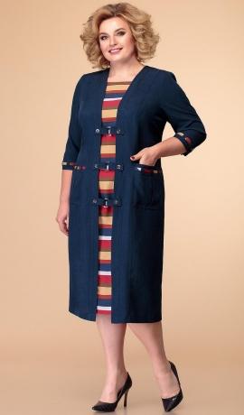 LIA5868 Zila kleita ar krāsainu svītru rakstu