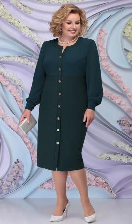 3-1413 Smaragdzaļa divu audumu kleita