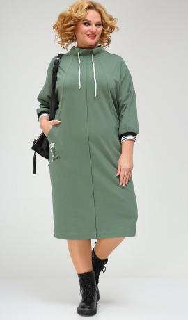 LIA7821 Zaļa trikotāžas kleita
