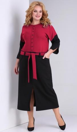 LIA7812 Sarkana ar melnu kleita