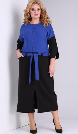 LIA7813 Zila ar melnu kleita