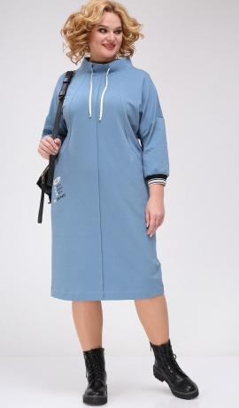 LIA7822 Zila trikotāžas kleita