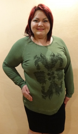 1-0883 Zaļš džemperveida tops