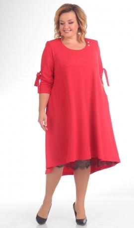 LIA4839 Sarkana kleita ar mežģīnu apakšiņu