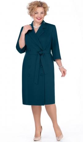 LIA4821 Smaragdzaļa kostīmstila kleita