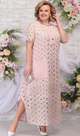 LIA5644 Rozīgi bēša kleita no divām daļām
