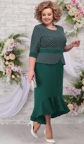 LIA5641 Zaļa kostīmu imitējoša kleita