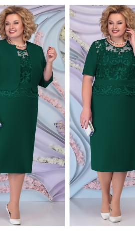 LIA6136 Smaragdzaļa kleita ar žaketi