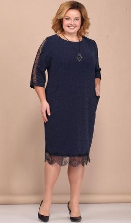 LIA4362 Tumši zila kleita ar spīdumu