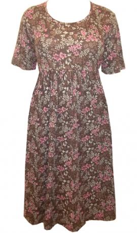 3-0333 Brūna puķaina kleita