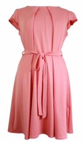 3-0163 Koraļļu krāsas kleita ar jostiņu