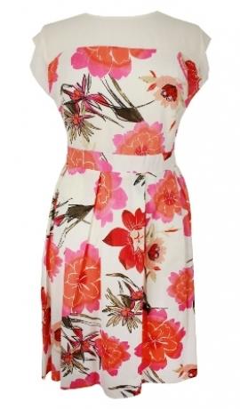 3-0285 Krēmkrāsas puķaina kleita