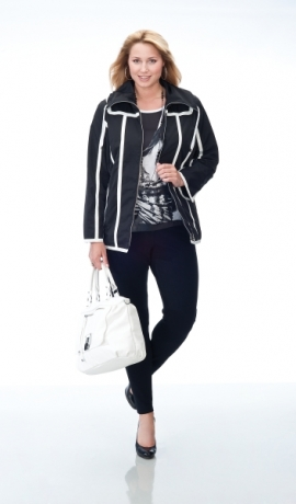 6-0088 Melna jaka ar baltām līnijām