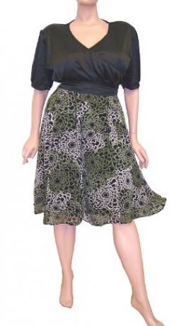 3-0025 Melna satīna & Zaļa šifona kleita