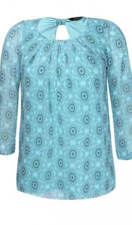 1-0466 Gaiša tirkīza zila tūnika ar rakstu
