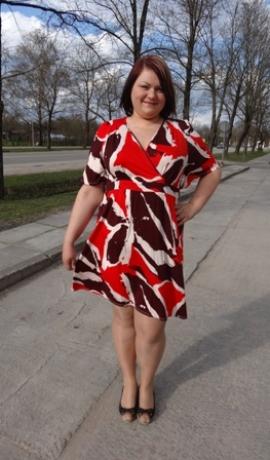 3-0272 Oranža & burgundijas krāsas kleita