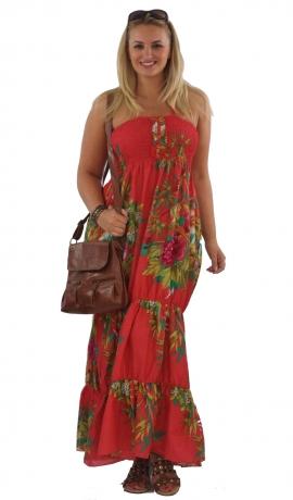 3-0054 Sarkana kleita ar puķēm