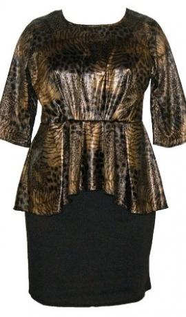 3-0087 Peplum kleita ar folijkrāsas augšu