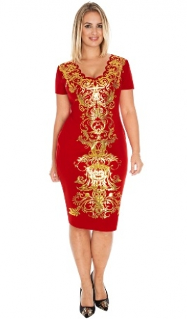 3-0279 Sarkana kleita ar melnu dekoru
