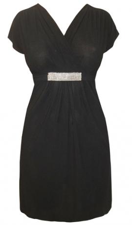 3-0338 Melna kleita ar spīdumu dekoru