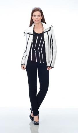 6-0089 Balta jaka ar melnām līnijām
