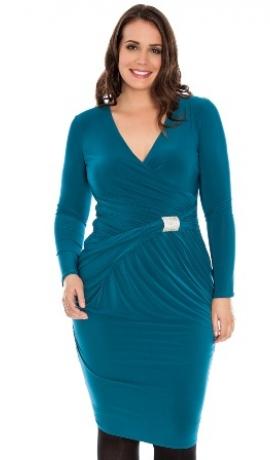 3-0263 Zilganzaļa kleita ar spīdīgu dekoru