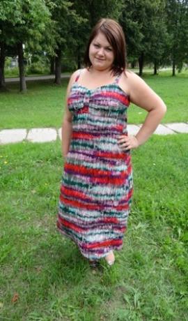 3-0187 Sarkana & zaļa kleita uz lencītēm