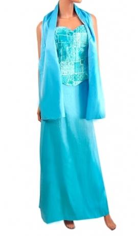 3-0049 Tirkīza zila kleita