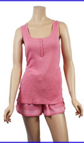 1-0269 Rozā pidžama ar šortiem