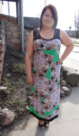 3-0273 Zaļa & puķaina kleita