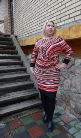 3-0141 Sarkanmelna raksta midi kleita