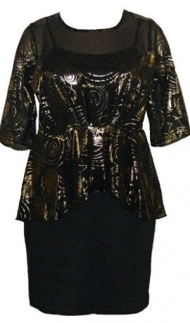 3-0088 Peplum kleita ar zelta rakstu