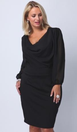 3-0229 Melna kleita ar šifona rokām
