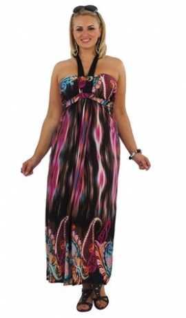 3-0019 Krāsaina kleita ar platu lenci ap kaklu