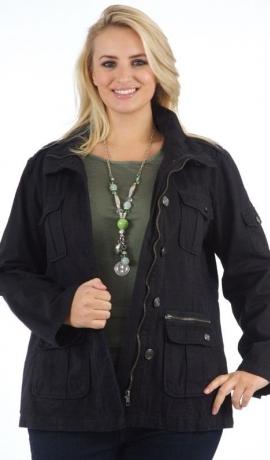 6-0031 Melna jaka ar rāvējslēdzēju