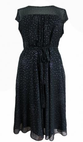 3-0096 Melna kleita ar spīdumiņiem