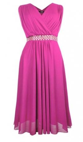 3-0394 Rozā kleita ar spīdumiem