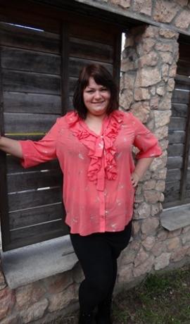 1-0510 Rozā krekls ar apdruku