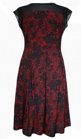 3-0125 Bordo & melna raksta kleita ar melnu augšu