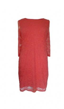 3-0039 Koraļļu krāsas mežģīņu kleita