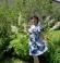 3-0173 Zila & Balta puķu raksta kleita