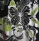 1-0464 Melns garš tops ar tauriņu un ziedu rakstu