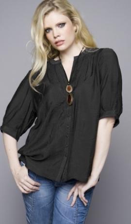 1-0235 Melns krekls ar pusgarām rokām