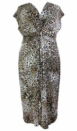 3-0134 Brūna leopardraksta midi kleita ar izgriezumiņu aizmugurē