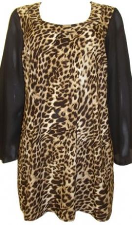 1-0365 Brūna & leopardraksta  tūnika ar šifona piedurknēm