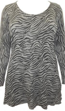 2-0328 Pelēks & melns zebras raksta džemperis