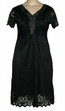 3-0227 Melna mežģīņu kleita