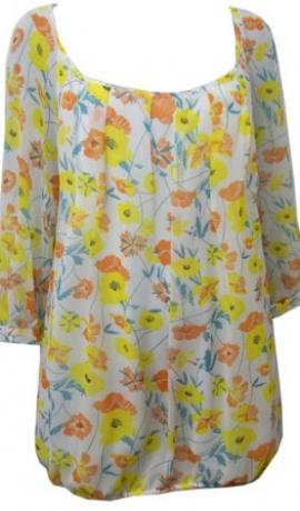 1-0338 Tunika ar dzelteniem un oranžiem ziediņiem
