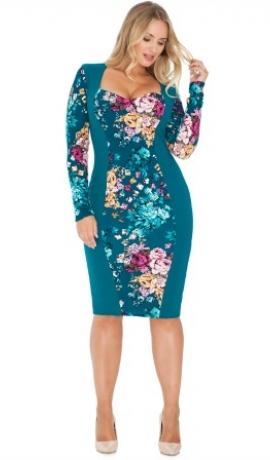 3-0364 Jūras zila & puķaina kleita
