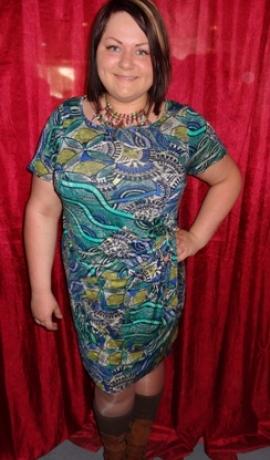 3-0249 Rakstaina kleita ar jostiņu